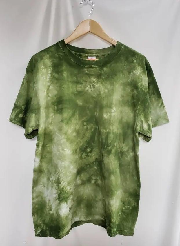 ムラ染めTシャツ緑色